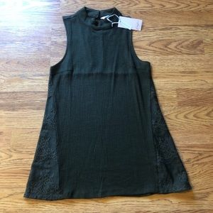 Ribbed Sleeveless Top with Lace Sides and Back